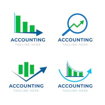 Coleção de logotipo de contabilidade plana