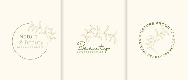 Coleção de logotipo de cosméticos da natureza.