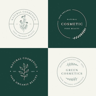 Coleção de logotipo de cosméticos de natureza