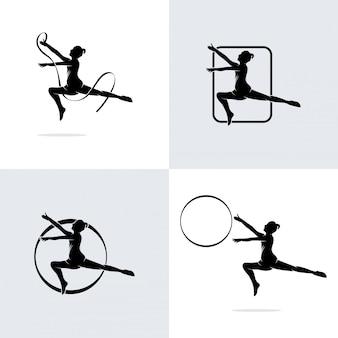 Coleção de logotipo de dança balé