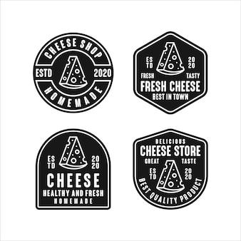 Coleção de logotipo de design de loja de queijos
