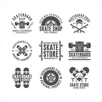 Coleção de logotipo de design de loja de skate