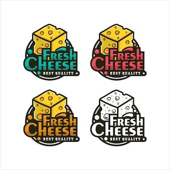 Coleção de logotipo de design de queijo fresco