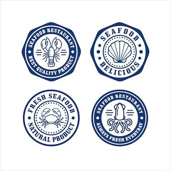 Coleção de logotipo de design de selo de restaurante de frutos do mar