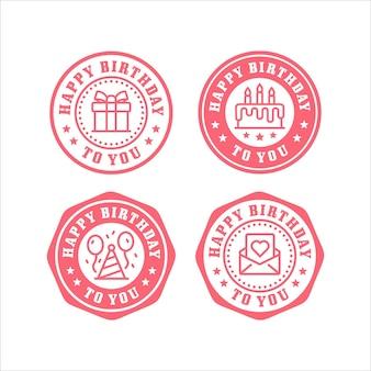Coleção de logotipo de design de selos de feliz aniversário