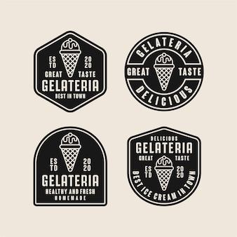 Coleção de logotipo de design de sorvete gelateria