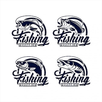 Coleção de logotipo de design de torneio de pesca
