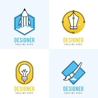Coleção de logotipo de designer gráfico de design plano colorido