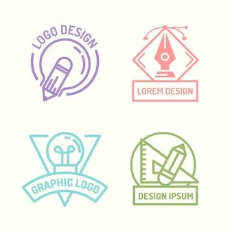 Coleção de logotipo de designer gráfico de design plano