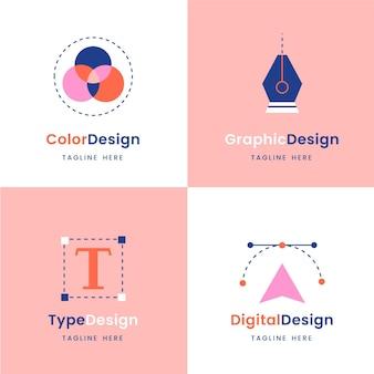 Coleção de logotipo de designer gráfico