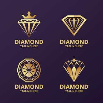 Coleção de logotipo de diamante elegante