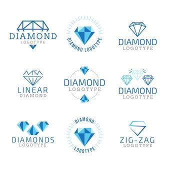 Coleção de logotipo de diamante linear
