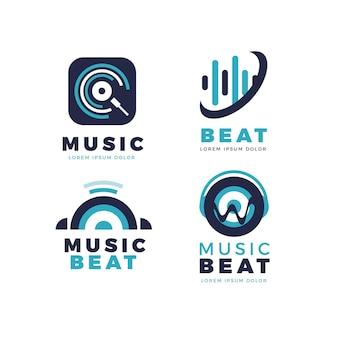 Coleção de logotipo de dj de design plano