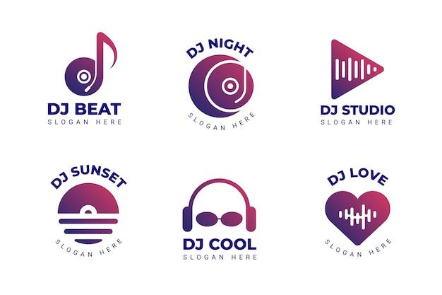 Coleção de logotipo de dj gradiente