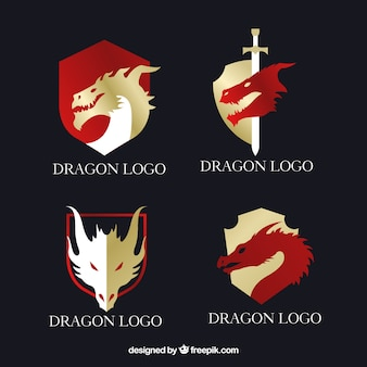 Coleção de logotipo de dragão com design plano
