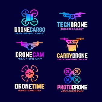 Coleção de logotipo de drone de design plano gradiente
