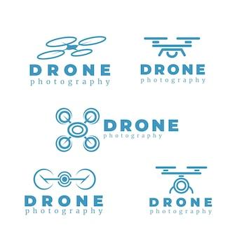 Coleção de logotipo de drone de design plano