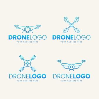 Coleção de logotipo de drone plano
