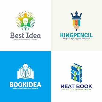 Coleção de logotipo de educação criativa