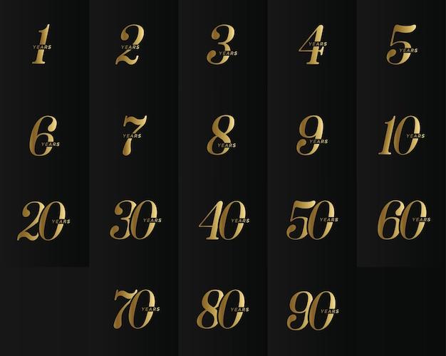 Coleção de logotipo de empresa de aniversário elegante números de ouro símbolo de data comemorativa de aniversário de casamento