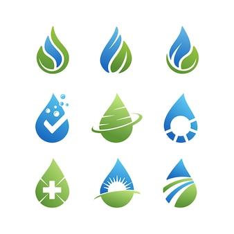 Coleção de logotipo de energia de gota d'água