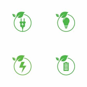 Coleção de logotipo de energia verde