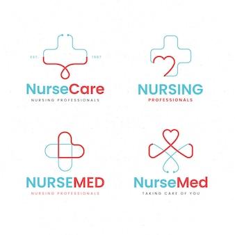 Coleção de logotipo de enfermeira de design plano