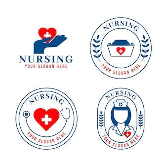 Coleção de logotipo de enfermeira plana