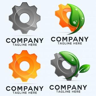 Coleção de logotipo de engrenagens e folhas