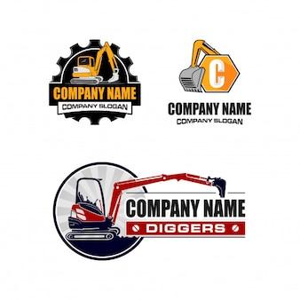 Coleção de logotipo de escavação / escavador