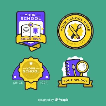 Coleção de logotipo de escola de design plano