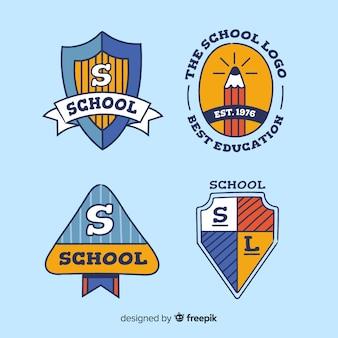 Coleção de logotipo de escola desenhada de mão