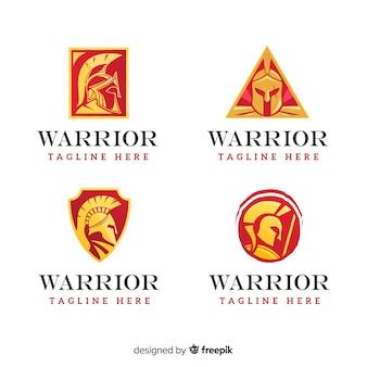 Coleção de logotipo de esportes guerreiro moderno