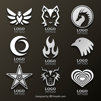 Coleção de logotipo de estúdio de tatuagem de estilo novo