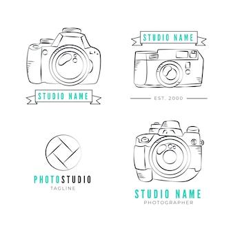 Coleção de logotipo de estúdio fotográfico desenhado à mão
