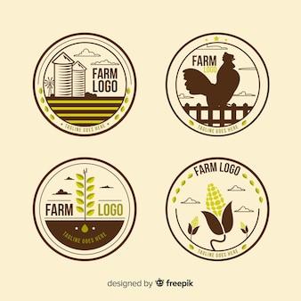 Coleção de logotipo de fazenda marrom plana