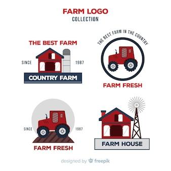 Coleção de logotipo de fazenda plana vermelha