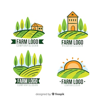 Coleção de logotipo de fazenda plana
