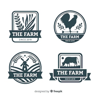 Coleção de logotipo de fazenda plana