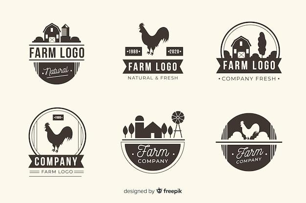 Coleção de logotipo de fazenda preto liso