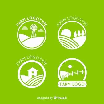 Coleção de logotipo de fazenda verde plana