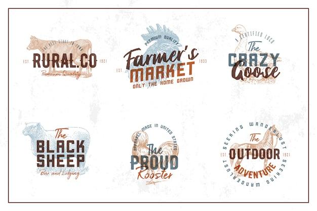 Coleção de logotipo de fazenda vintage