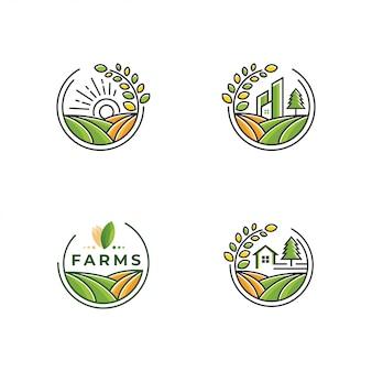 Coleção de logotipo de fazenda