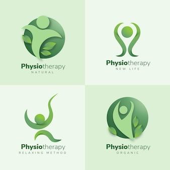 Coleção de logotipo de fisioterapia de design plano