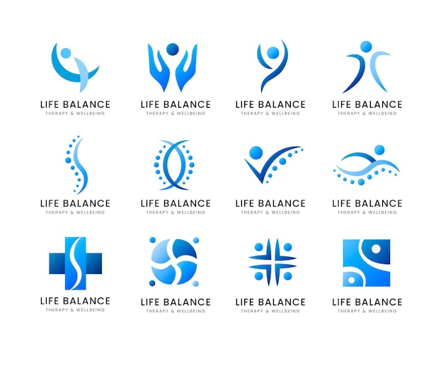 Coleção de logotipo de fisioterapia de gradiente