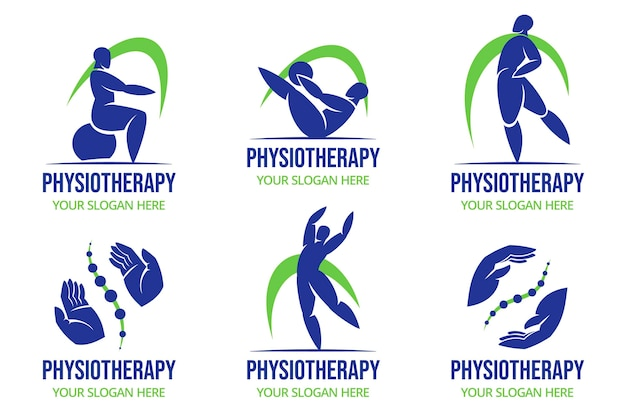 Coleção de logotipo de fisioterapia plana