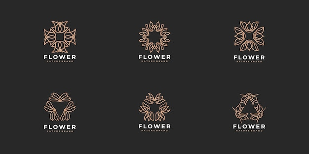 Coleção de logotipo de flor rosa de arte criativa de luxo