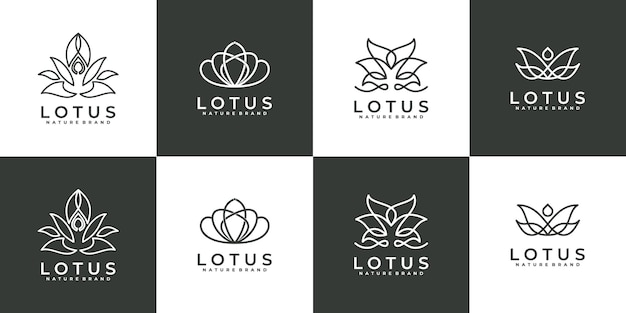 Coleção de logotipo de flor rosa de arte de luxo