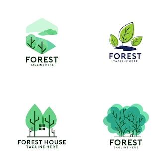 Coleção de logotipo de floresta