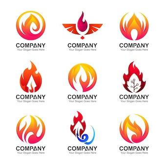 Coleção de logotipo de fogo